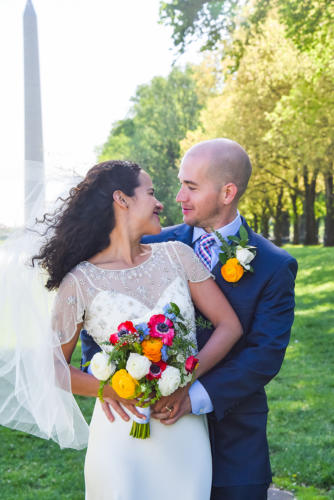 Beautiful couple in DC Wedding Portraits The Mall, Lincoln Memorial, the Monument